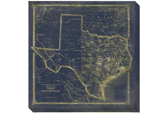 38X38 TX Map Navy And Gold