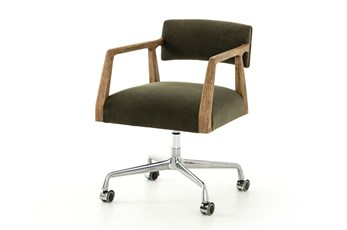 Modern Velvet Distressed Oak Desk Chair