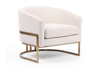 Textured Ivory + Satin Brass Chair