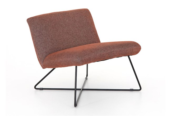 Twill Brick Midnight Iron Chair - 360
