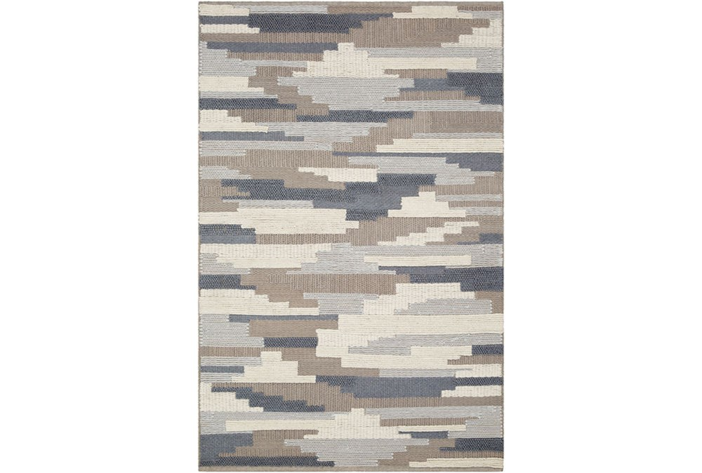 36X24 Rug-Denim And Grey Wool Woven Patchwork