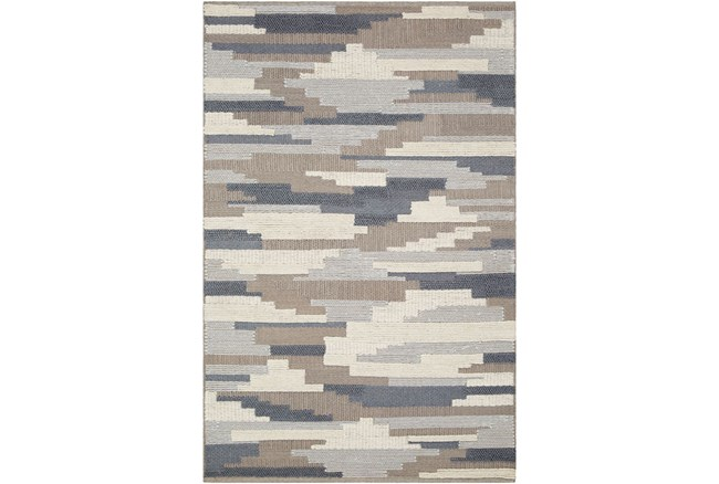 36X24 Rug-Denim And Grey Wool Woven Patchwork - 360