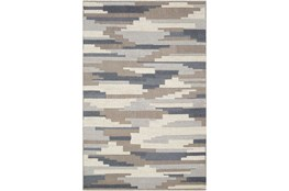 120X96 Rug-Denim And Grey Wool Woven Patchwork