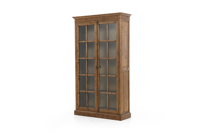 Waxed Bleached Pine Tempered Glass Cabinet - 360
