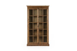 Waxed Bleached Pine Tempered Glass Cabinet