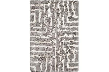 90X60 Rug-Grey & Ivory Maze Shag