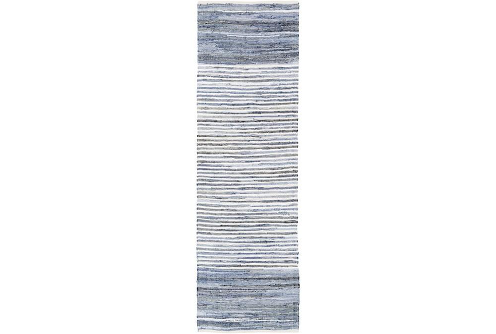 96X30 Rug-Recycled Denim Stripes