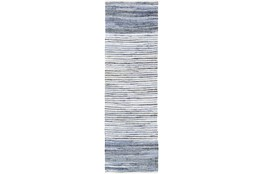 "2'5""x8' Rug-Recycled Denim Stripes"