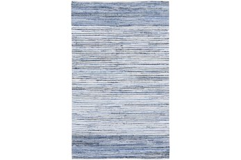 156X108 Rug-Recycled Denim Stripes
