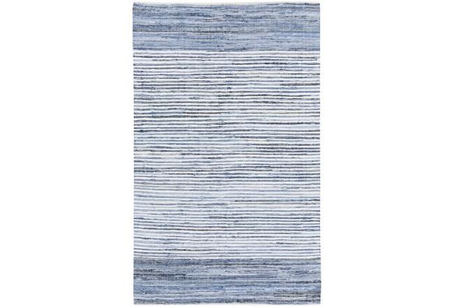 156X108 Rug-Recycled Denim Stripes - 360