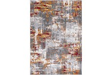 90X63 Rug-Orange & Red Distressed
