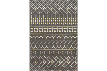 36X24 Rug-Charcoal & Yellow Modern Lines