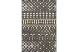 123X94 Rug-Charcoal & Yellow Modern Lines
