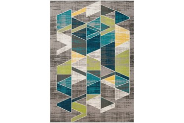"""5'3""""x7'5"""" Rug-Teal & Lime Triangles"""