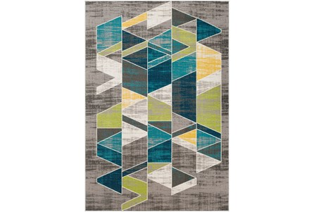 90X63 Rug-Teal & Lime Triangles