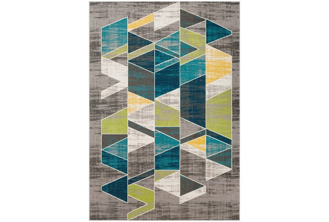 90X63 Rug-Teal & Lime Triangles - 360