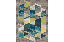 "7'8""x10'3"" Rug-Teal & Lime Triangles"