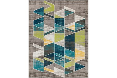 """7'8""""x10'3"""" Rug-Teal & Lime Triangles"""