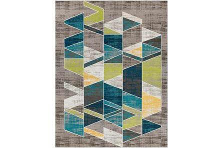 123X94 Rug-Teal & Lime Triangles - Main
