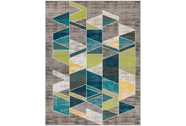 123X94 Rug-Teal & Lime Triangles - 360