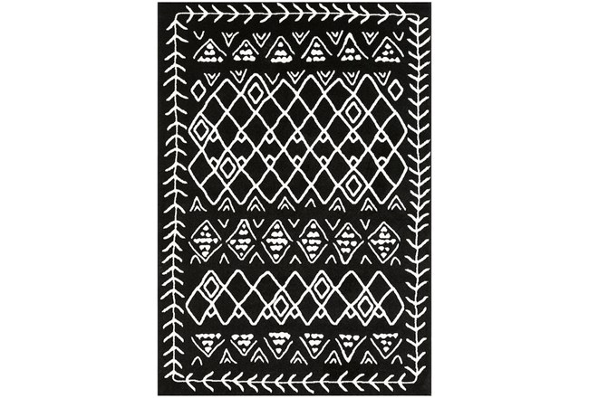 87X63 Rug-Casimir Diamonds Black & White  - 360