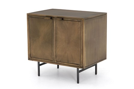 Aged Brass Sunburst Etched Aged Cabinet Nightstand - Main