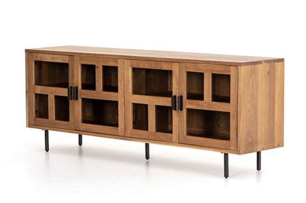Light Smoked Oak Gunmetal Media Console