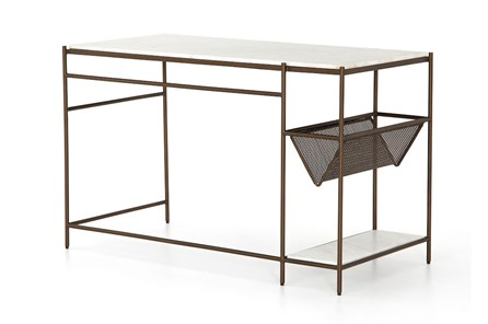 Matte Brass Polished White Marble Desk
