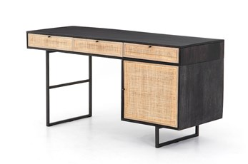 Black Wash + Natural Cane Desk