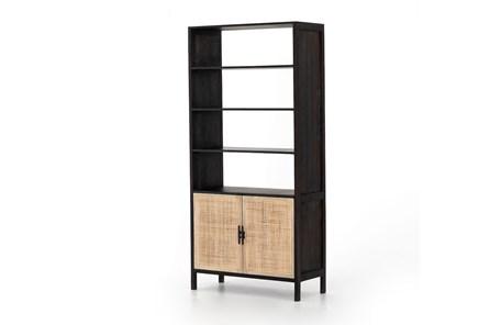 Washed Black + Natural Cane Bookcase
