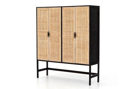 Washed Black + Natural Cane Cabinet