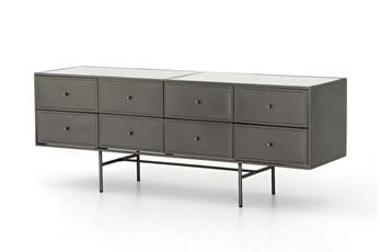 Gunmetal Polished White  8 Drawer Dresser