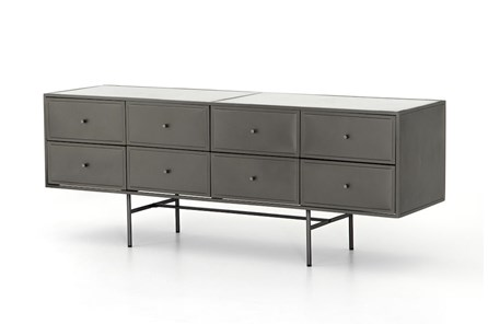 Gunmetal Polished White  8 Drawer Dresser
