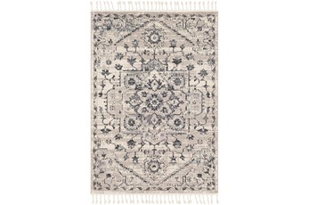 36X24 Rug-Taupe & Charcoal Traditional Tassel Trim