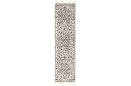 120X31 Rug-Taupe & Charcoal Traditional Tassel Trim