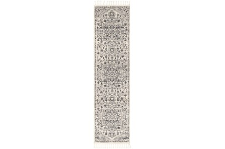 144X31 Rug-Taupe & Charcoal Traditional Tassel Trim