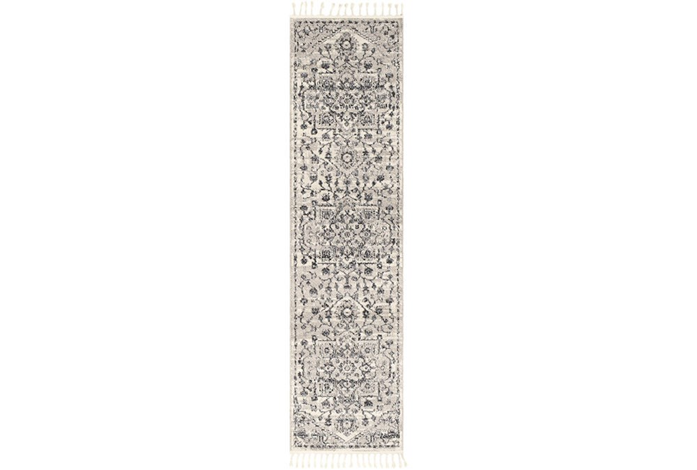 87X31 Rug-Taupe & Charcoal Traditional Tassel Trim
