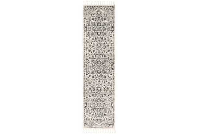 87X31 Rug-Taupe & Charcoal Traditional Tassel Trim - 360