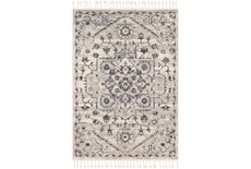 67X47 Rug-Taupe & Charcoal Traditional Tassel Trim
