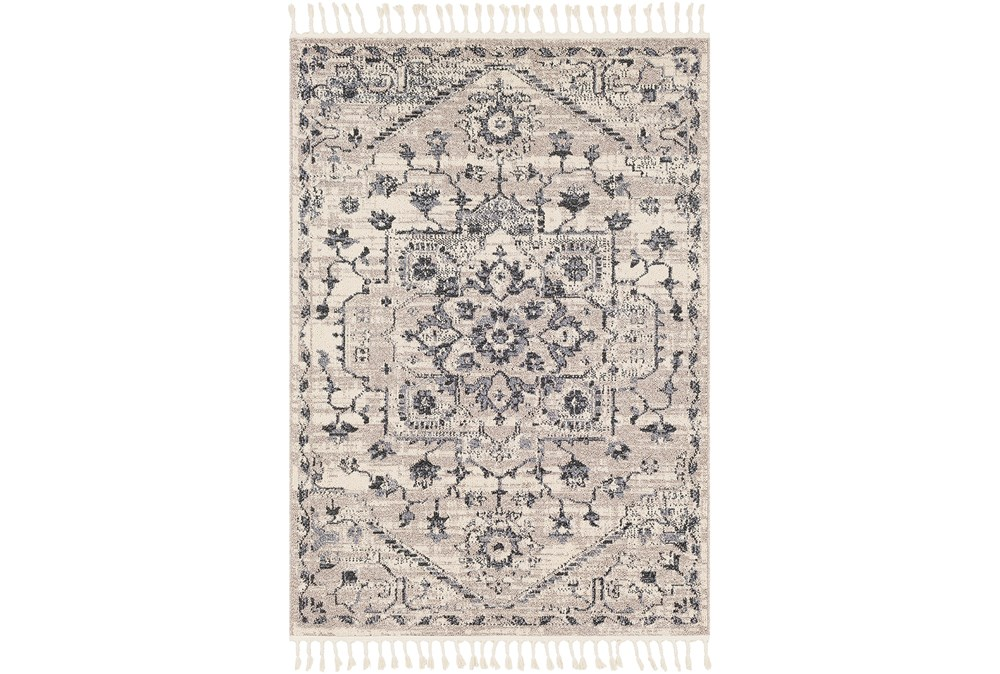 87X60 Rug-Taupe & Charcoal Traditional Tassel Trim