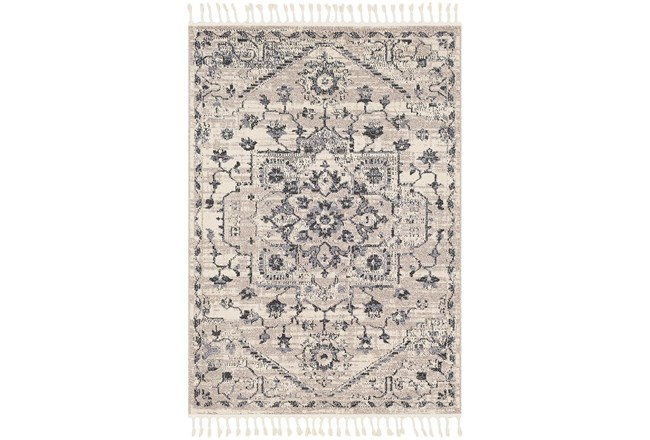 87X60 Rug-Taupe & Charcoal Traditional Tassel Trim - 360