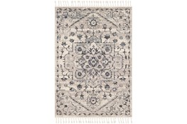 108X79 Rug-Taupe & Charcoal Traditional Tassel Trim