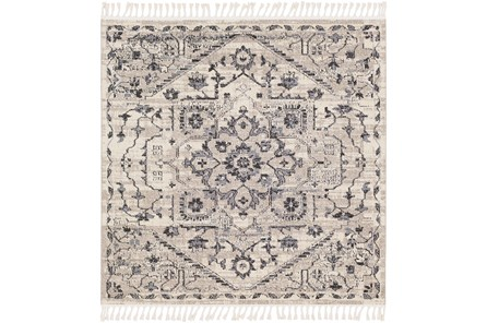 79X79 Rug-Taupe & Charcoal Traditional Tassel Trim