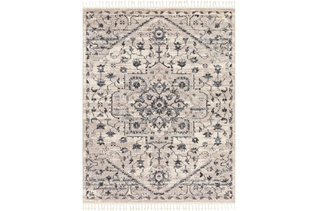 120X94 Rug-Taupe & Charcoal Traditional Tassel Trim