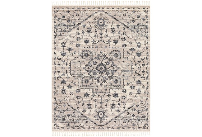 145X111 Rug-Taupe & Charcoal Traditional Tassel Trim - 360