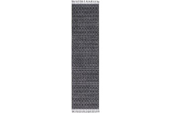 120X31 Rug-Charcoal Boho Diamonds Tassel Trim