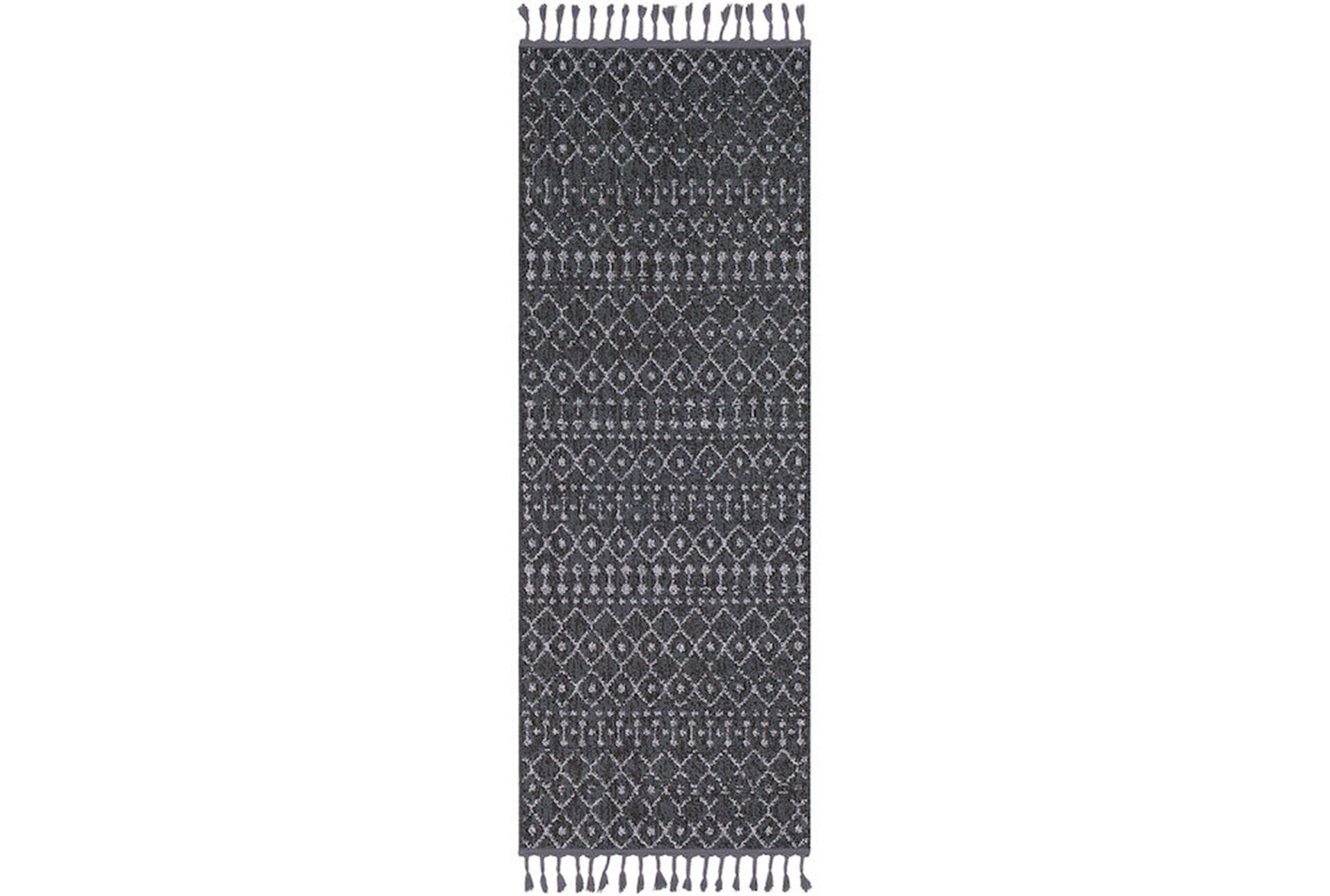 87x31 rug charcoal boho diamonds tassel trim qty 1 has been successfully added to your cart