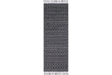 87X31 Rug-Charcoal Boho Diamonds Tassel Trim