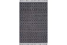 87X60 Rug-Charcoal Boho Diamonds Tassel Trim