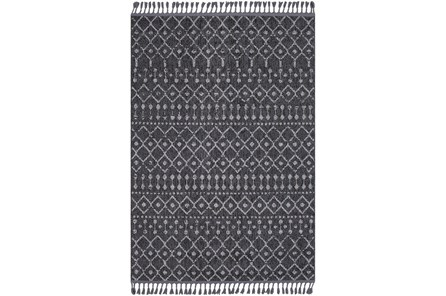 120X94 Rug-Charcoal Boho Diamonds Tassel Trim